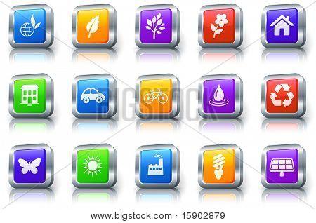 Environment Icon on Square Button with Metallic Rim Original Illustration