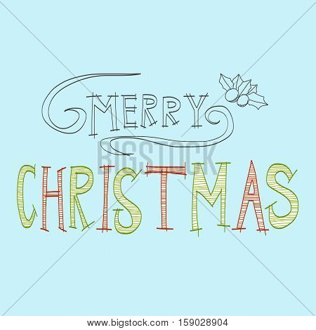 Merry Christmas hand writing word sketch illustration