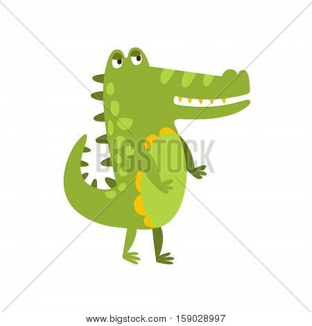 Crocodile Walking On Two Legs Flat Cartoon Green Friendly Reptile Animal Character Drawing. Part Of Alligator And Its Different Positions And Activities Collection Of Childish Fauna Colorful Vector Illustrations.