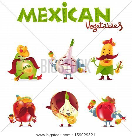 Mexican vegetable characters playing musical instruments, cartoon vector illustration isolated on white background. Avocado, garlic, corn, bell pepper, onion and tomato characters in Mexican clothes