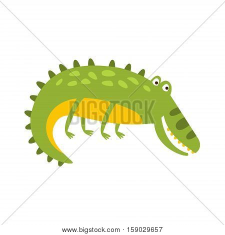 Crocodile Laying On The Side Flat Cartoon Green Friendly Reptile Animal Character Drawing. Part Of Alligator And Its Different Positions And Activities Collection Of Childish Fauna Colorful Vector Illustrations.