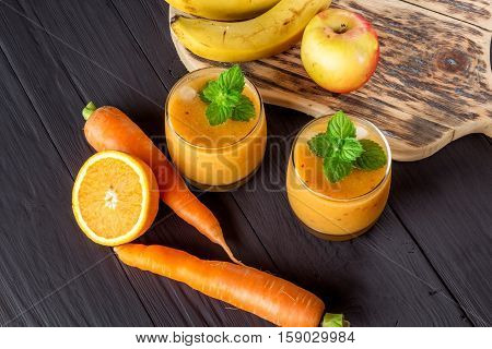 fruit-vegetable smoothies ingredients for its preparation flat lay