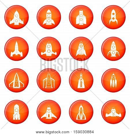 Rocket icons vector set of red circles isolated on white background