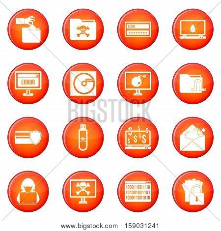Criminal icons vector set of red circles isolated on white background