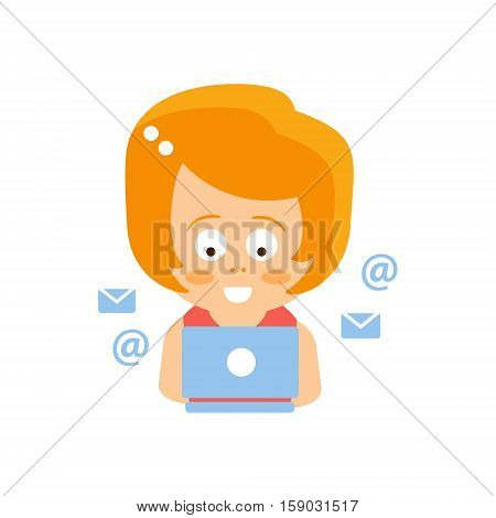 Little Red Head Girl In Red Dress Reading E-mail On Lap Top Flat Cartoon Character Portrait Emoji Vector