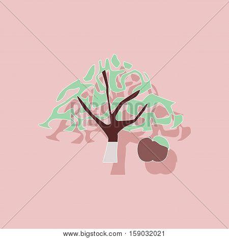 paper sticker on stylish background of plant Malus