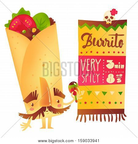 Big burrito character with thick eyebrows and moustache playing Mexican maraca, cartoon vector illustration isolated on white background. Traditional Mexican burrito character shaking maraca