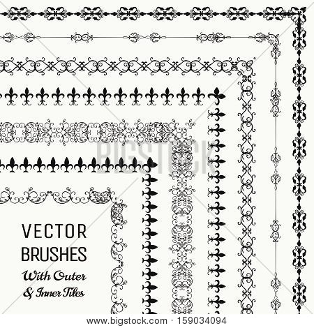 Collection of Vector Pattern Brushes with Outer and Inner Tiles. Black Outlined Hand Drawn Vintage Seamless Line Borders, Frames, Corners. Design Elements. Vector Illustration