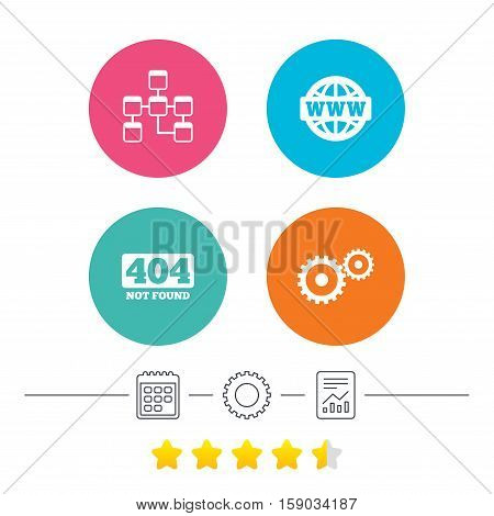 Website database icon. Internet globe and gear signs. 404 page not found symbol. Under construction. Calendar, cogwheel and report linear icons. Star vote ranking. Vector