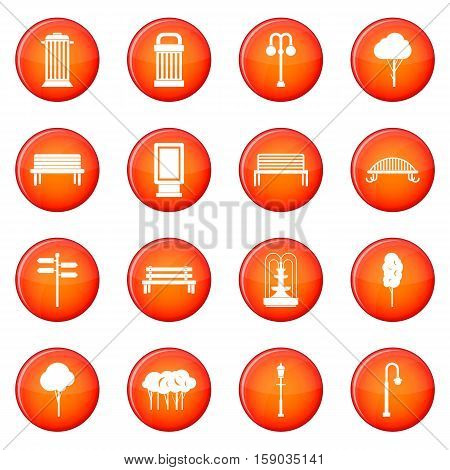 Park icons vector set of red circles isolated on white background