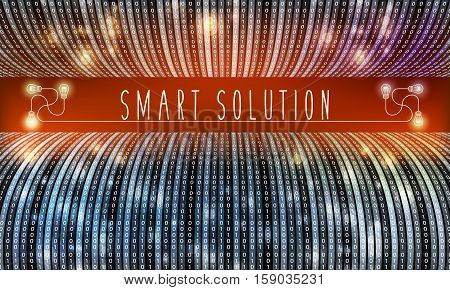 Futuristic vector backdrop with binary code and the words smart solution