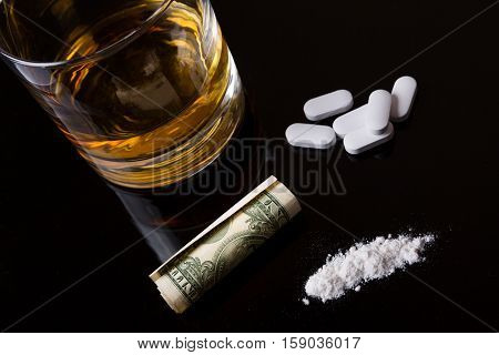 narcotics addiction - alcohol drugs and cocaine