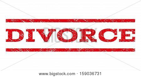 Divorce watermark stamp. Text tag between horizontal parallel lines with grunge design style. Rubber seal stamp with dirty texture. Vector red color ink imprint on a white background.