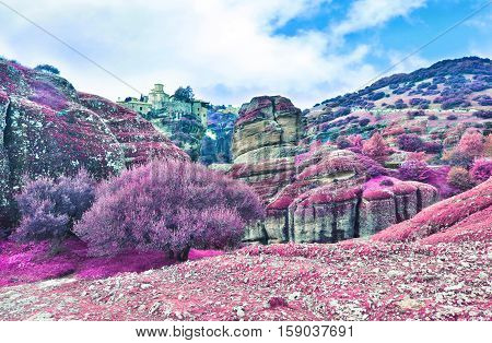 infrared landscape of Meteora Greece - Orthodox religious places