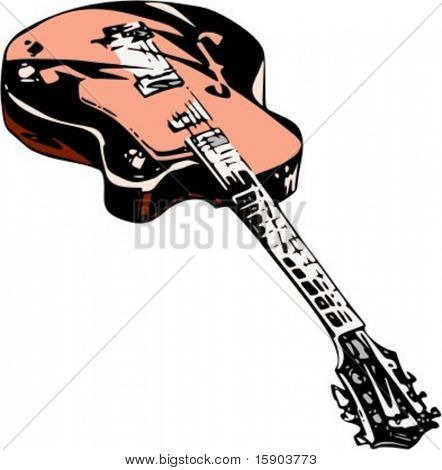 Vector illustration of electric guitar in original style. Very CLEAN vectors. Reduced file size for Flash animations and ready for vinyl cutting as well.