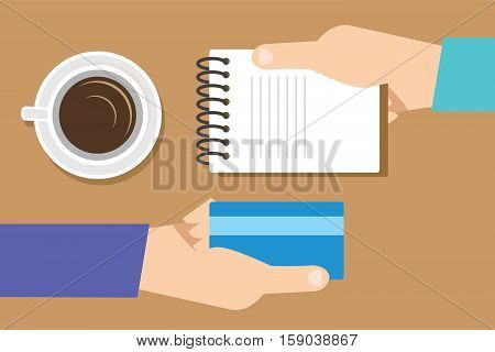 transaction with credit card at cafe vector illustration