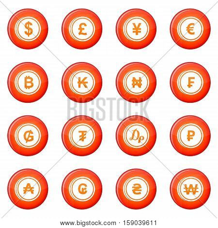 Currency icons vector set of red circles isolated on white background
