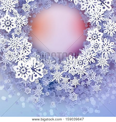 Round snow frame with place for text.. Winter frame made of snowflakes of various size. Circle shape. New Year, Christmas blue and purple abstract background.