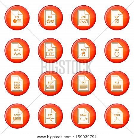 File format icons vector set of red circles isolated on white background