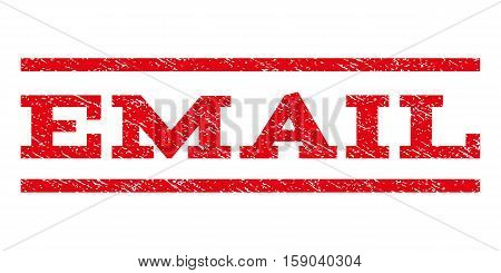 Email watermark stamp. Text caption between horizontal parallel lines with grunge design style. Rubber seal stamp with scratched texture. Vector red color ink imprint on a white background.