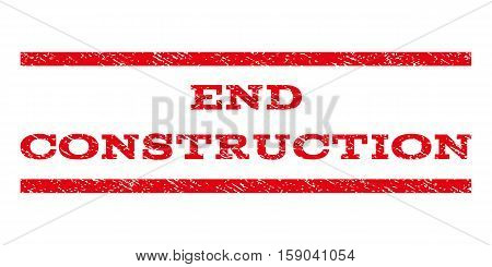 End Construction watermark stamp. Text caption between horizontal parallel lines with grunge design style. Rubber seal stamp with dust texture. Vector red color ink imprint on a white background.