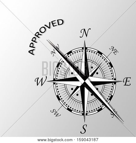 Illustration of approved word written aside compass