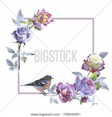 Wildflower rose flower and bird frame in a watercolor style isolated.