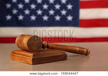 Judge gavel and soundboard on USA flag background