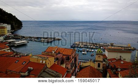 Top view of the pier in Sorrento