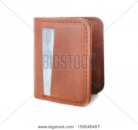 Brown leather wallet with credit card isolated on white