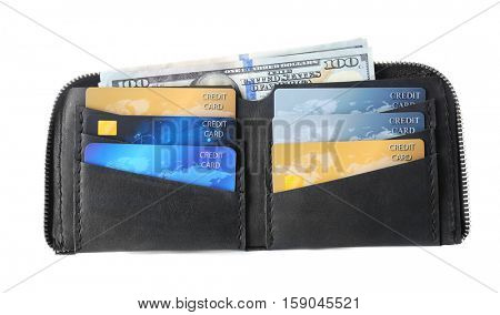 Opened black leather wallet with credit cards isolated on white