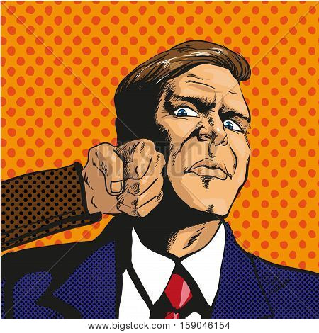 Vector illustration of man getting punch in his face in retro pop art comic style. Businessman facing unexpected difficulties and resisting them