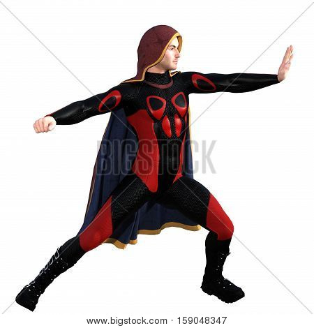 One young man in a super suit and a red cloak. He stands on the leg bent and the left hand shows a stop sign. Right side. 3D rendering, 3D illustration