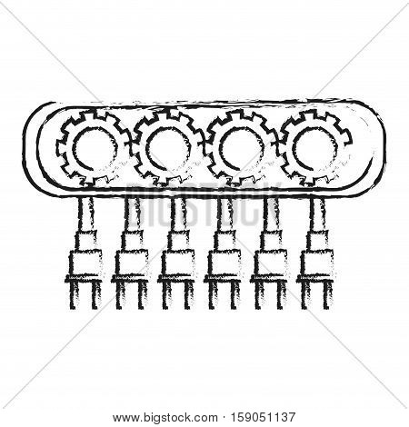 Robot with gears icon. Robotic technology machine cyborg and science theme. Isolated design. Vector illustration