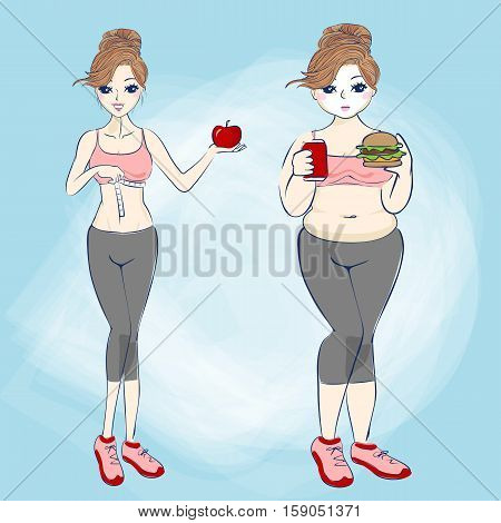 cartoon fat woman and slim woman great for your design