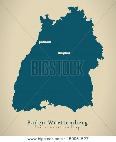 Modern Map - Baden Württemberg DE Germany illustration