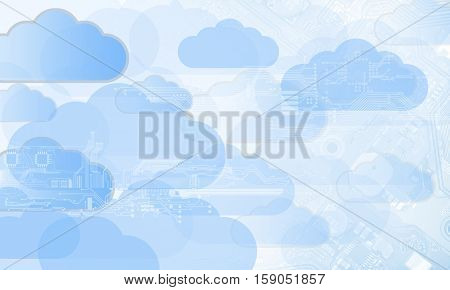 cloud technology, integrated digital web and internet concept