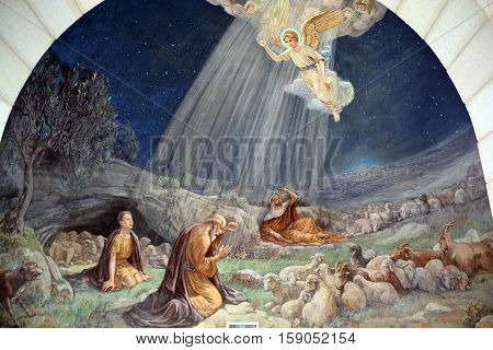 BETHLEHEM ISRAEL 26 10 16: Fresco in Shepherd Field Chapel. Has relevance for Catholics because there the first announcement of the birth of Christ is celebrated.