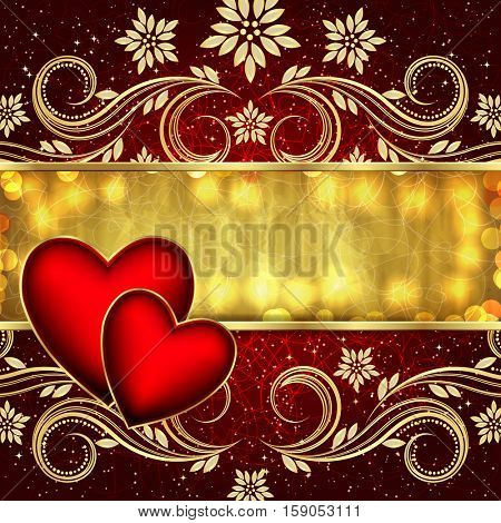 Valentine's day red golden background with hearts and flowers.