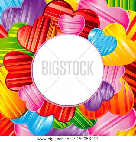 Valentine's day background with striped pattern hearts , design illustration.