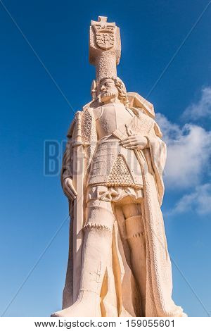 POINT LOMA, CALIFORNIA - MARCH 6, 2016:  Statue of Juan Rodriguez Cabrillo at Cabrillo National Monument.  Cabrillo led the first  European expedition to explore the west coast of the U.S. in 1542.