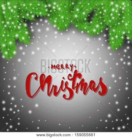 Merry Christmas! Fir branches and snowflakes abstract background. Stock vector.
