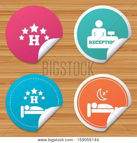 Round stickers or website banners. Five stars hotel icons. Travel rest place symbols. Human sleep in bed sign. Hotel check-in registration or reception. Circle badges with bended corner. Vector