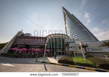 MANAMA, BAHRAIN - NOVEMBER 23, 2016: An ultra-wide view of the Moda Mall and the Iconic Bahrain World Trade Center