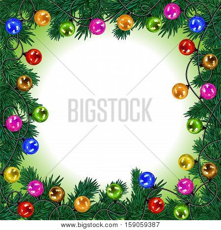 Christmas garland with colorful balls and lights decorating the Christmas tree branches on a light background. Vector illustration.