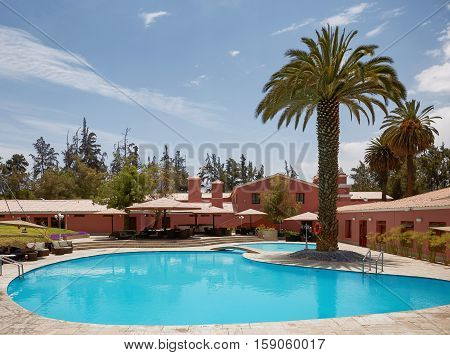 AREQUIPA PERU - NOVEMBER 27 2016: Beautiful Luxury Outdoor Swimming Pool in Hotel Resort in Arequipa Peru.