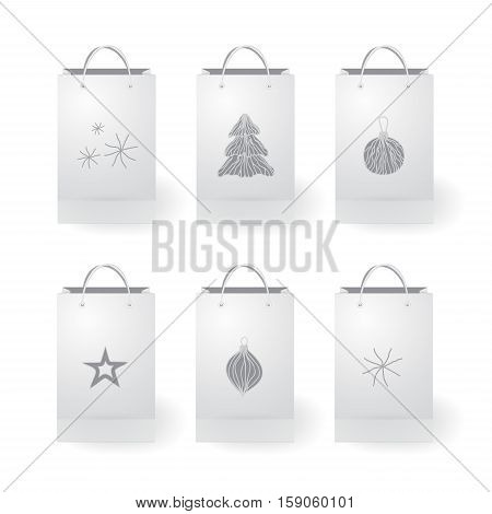 set of stock vector isolated paper shopping bag on the white background. christmas design