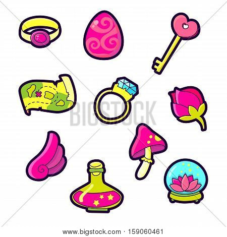 Set of Fashion patch badges with cute elements - wing, wrench, diamond, mushroom, treasure map, potion, flower. Perfect design for stickers, pins, embroidery patches. Vector illustration isolated on white background.