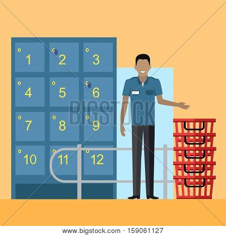 Lockers and security personnel in supermarket vector. Flat design. Saving personal things while shopping in store. Smiling man guard in uniform standing near lockers and baskets on entrance in mall.