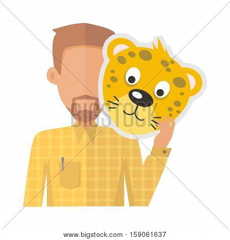 Man without face with tiger mask isolated on white. Boy in shirt and beard with carnaval festival mask for children. Funny cartoon masquerade masque. Animator userpic avatar. Vector in flat style
